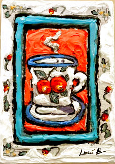 Peach Cup #3 7x5 Monotype Original Painting - Leslie Lew