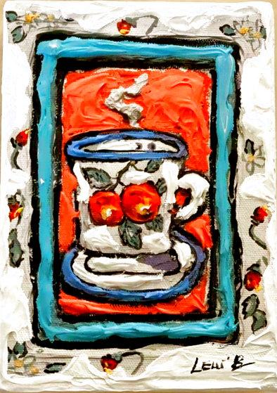 Peach Cup #3 7x5 Original Painting by Leslie Lew