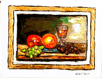 Still Life With Grapes 9x12 Original Painting - Leslie Lew