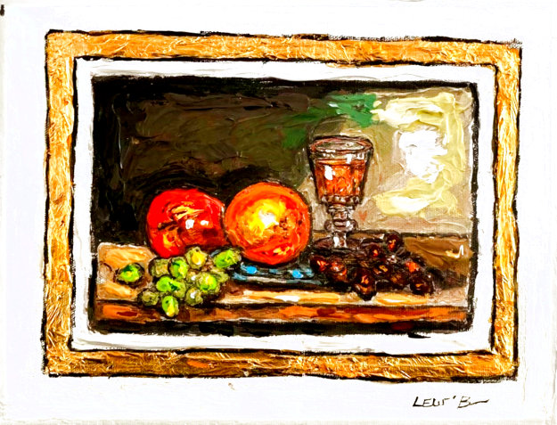 Still Life With Grapes 9x12 Original Painting by Leslie Lew