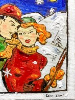 Ski Romance 16x12 Original Painting by Leslie Lew - 4