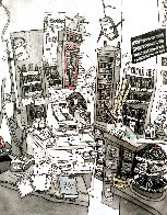 School Store 2008 17x14 Drawing by Leslie Lew - 0