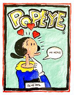 Popeye 15x14 Original Painting - Leslie Lew