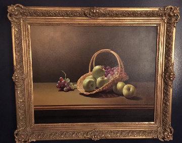 Basket And Fruit 1980 32x38 Original Painting - Lex Gonzalez