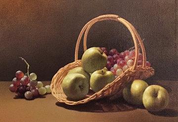 Basket And Fruit 1980 32x38 Huge Original Painting - Lex Gonzalez
