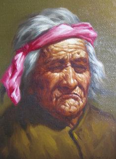 Native Elderly Men (Set of 4 Paintings) 1970 17x14 Original Painting - Lex Gonzalez