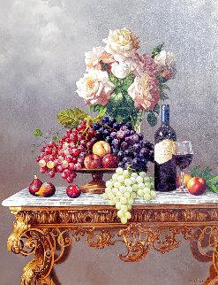 Roses and Fruit 41x51 Original Painting - Lex Gonzalez