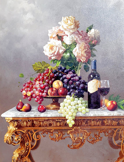 Roses and Fruit 41x51 Original Painting by Lex Gonzalez