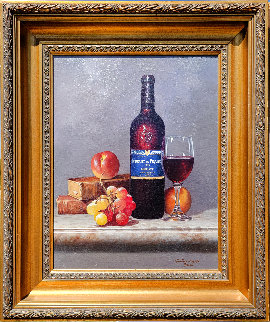 Fruit And Wine 22x26 Original Painting - Lex Gonzalez