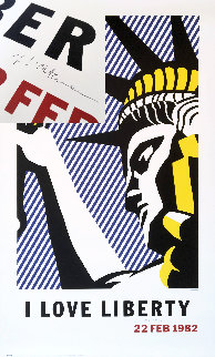 I Love Liberty Poster (Hand Signed) 1982 Limited Edition Print - Roy Lichtenstein