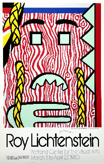 Head With Braids Hand Signed Poster 1980 Limited Edition Print - Roy Lichtenstein