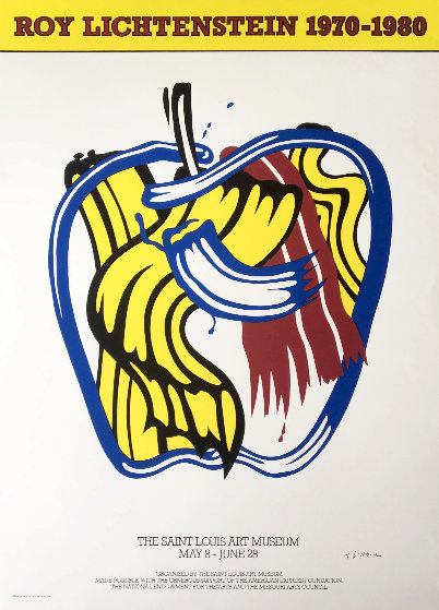Apple Poster 1981 Hand Signed Limited Edition Print by Roy Lichtenstein