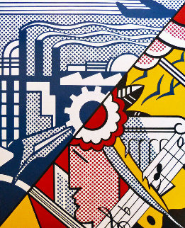Industry And the Arts Poster Hand Signed 1990 Limited Edition Print - Roy Lichtenstein