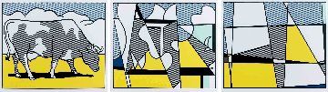 Cow Going Abstract (Triptych) 3-piece Poster Set 1982 Limited Edition Print by Roy Lichtenstein