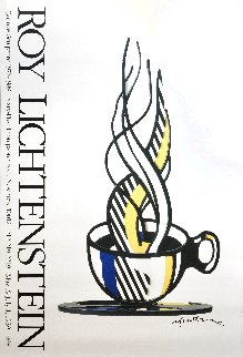 Cup And Saucer II Hand Signed Exhibition Poster 1989 HS Limited Edition Print - Roy Lichtenstein