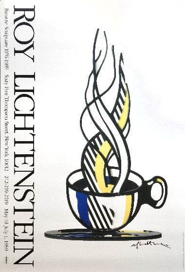 Cup And Saucer II Hand Signed Exhibition Poster 1989 HS Limited Edition Print by Roy Lichtenstein