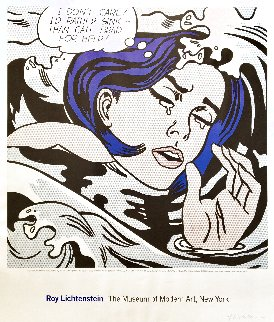\'Drowning Girl\' Hand Signed Exhibition Poster 1996 HS Limited Edition Print - Roy Lichtenstein