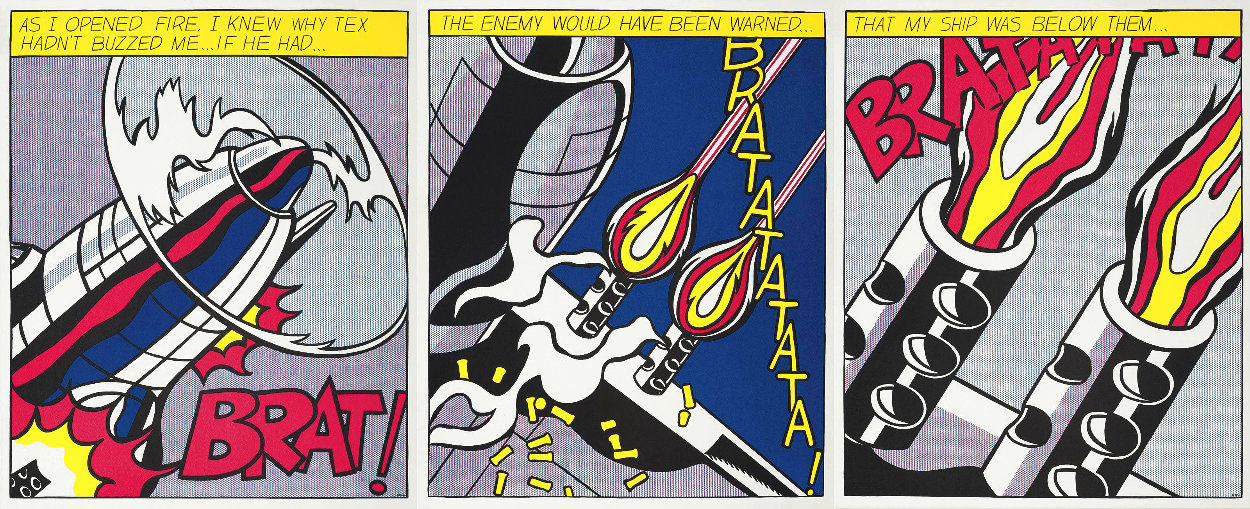 As I Opened Fire 1983 Triptych  Limited Edition Print by Roy Lichtenstein