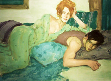 Seduction in Blues And Greens Limited Edition Print by Malcolm Liepke