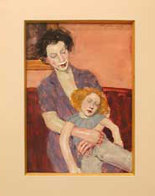 Mother and Doll Watercolor  2000 25x23 Original Painting by Malcolm Liepke - 1