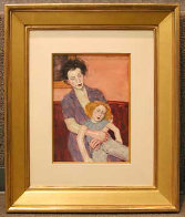 Mother and Doll Watercolor  2000 25x23 Original Painting by Malcolm Liepke - 2