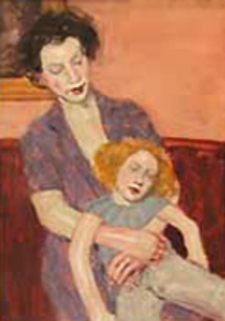 Mother and Doll Watercolor  2000 25x23 Original Painting by Malcolm Liepke