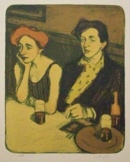 Couple in Cafe PP Limited Edition Print by Malcolm Liepke
