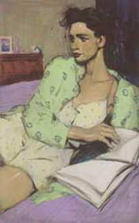Reading in Bed 2002 Limited Edition Print by Malcolm Liepke