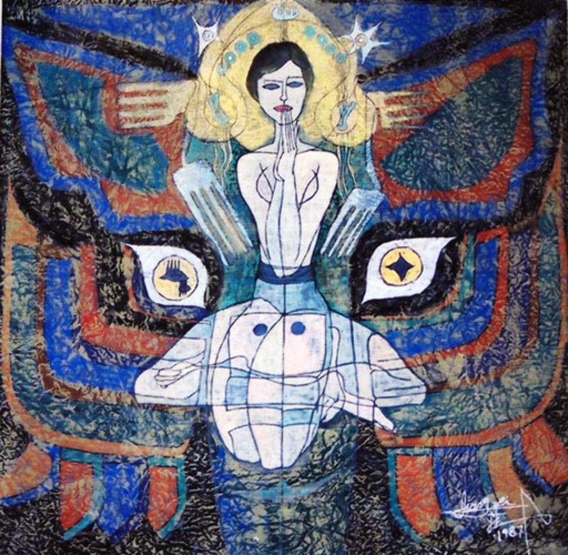 Pray 1987 50x48 Super Huge Original Painting by Jiang Li