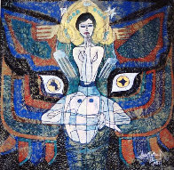 Pray 1987 50x48 Super Huge Original Painting by Jiang Li - 0