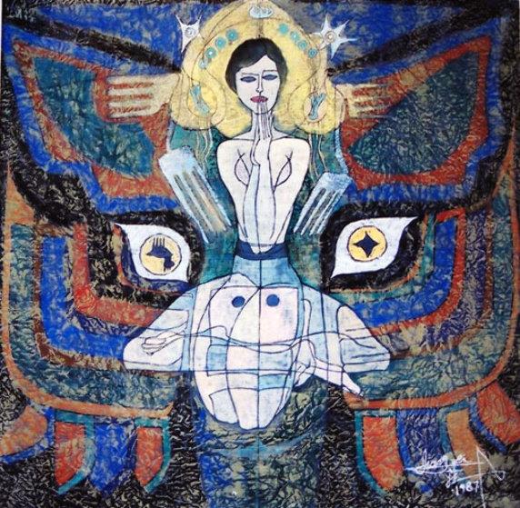 Pray 1987 50x48 Original Painting by Jiang Li