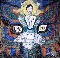 Pray 1987 50x48 Super Huge Original Painting by Jiang Li - 4