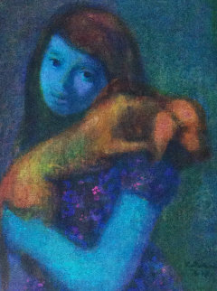 Girl With Dog 1968 24x20 Original Painting by Gustav Likan