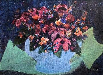 Flowers 1972 20x25 Original Painting - Gustav Likan