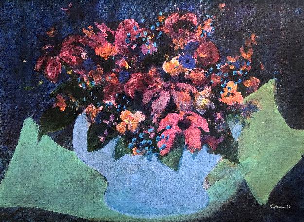 Flowers 1972 20x25 Original Painting by Gustav Likan