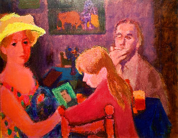 Untitled Portrait of a Family 37x45 Super Huge Original Painting - Gustav Likan