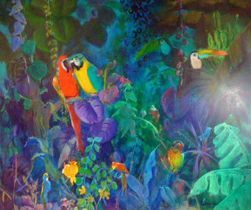 Jungle Scene 1989 51x62 Original Painting - Gustav Likan