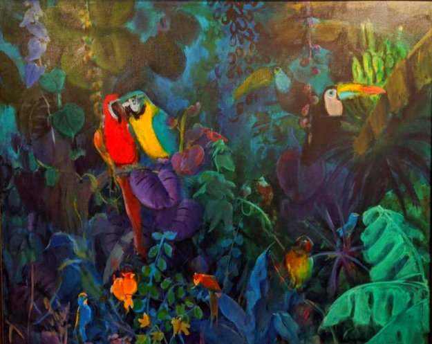 Jungle Scene 1989 51x62 Original Painting by Gustav Likan