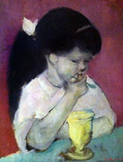 Girl Eating Ice Cream 1960 26x22 Original Painting - Gustav Likan