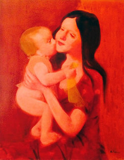 Mother And Child 40x34 Original Painting - Gustav Likan
