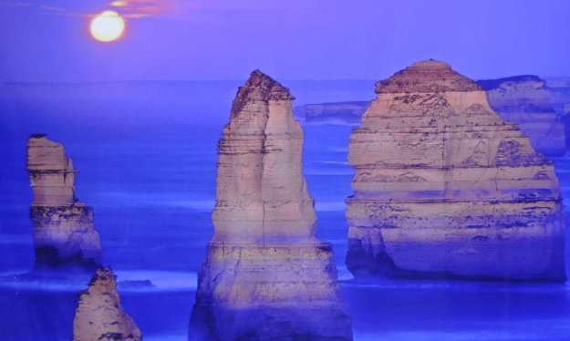 12 Apostles, Moonglow  (Twelve Apostles Marine NP, Victoria) Panorama by Peter Lik