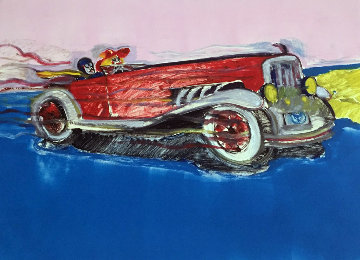 Full Throttle in the Duesenburg Monoprint 1980 29x35 Works on Paper (not prints) - Earl Linderman