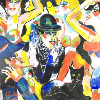 Chorus Line With Mr Cat 1980 36x36 Original Painting by Earl Linderman
