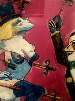 Doktor Thrill And Snakelady of the Carnival 45x34 Original Painting - Earl Linderman