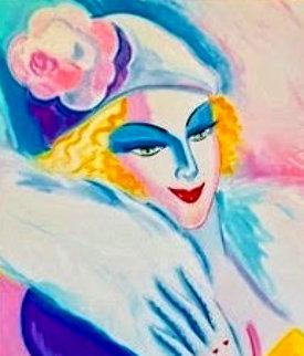 Snakelady of Scottsdale 1986 36x31 Original Painting - Earl Linderman