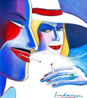Snake Lady Lights Up Doktor Thrill 1981 32x30 Original Painting - Earl Linderman