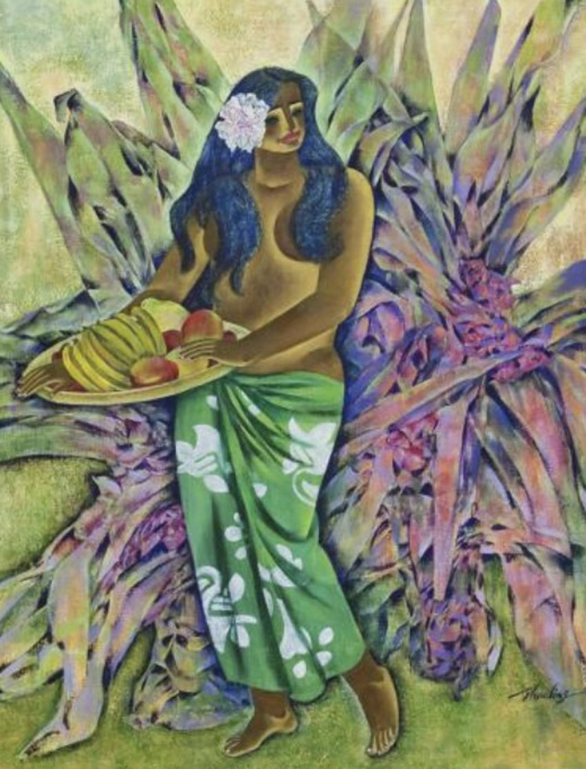 Woman With Fruit Bowl 46x38 Super Huge Original Painting by Zhou Ling