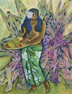 Woman With Fruit Bowl 46x38 Huge Original Painting - Zhou Ling