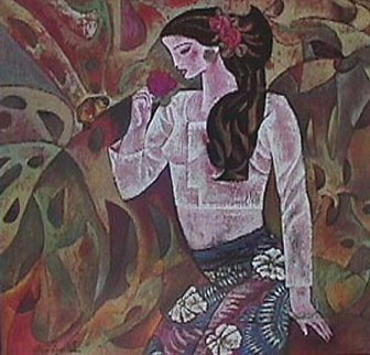 Girl And Rose 1988 Limited Edition Print - Zhou Ling
