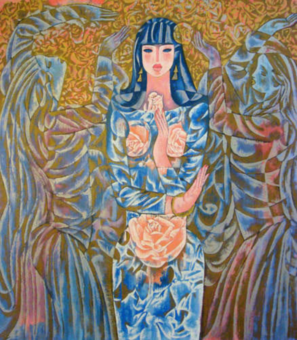 Goddess of the Roses 1988 40x37 Super Huge Limited Edition Print by Zhou Ling